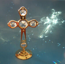 """SWAROVSKI CRYSTAL ELEMENTS """"EXQUISITE CROSS""""  FIGURINE ON STAND 24KT GOLD PLATED"""