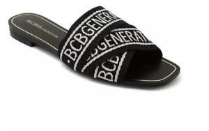 NEW BCBGeneration Women's Ladies KEENA Black/ White Logo Sandals Shoes Size 9
