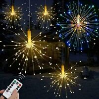 Hanging Firework LED Fairy String Light Remote 8Modes Party Xmas Home Decor Lamp