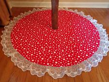 "Christmas Polka Dots & Holly Reversible Tree Skirt 48"" Lace Trim Custom Made"