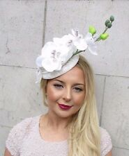Ivory Cream Orchid Flower Fascinator Hat Pillbox Hair Clip Headpiece Races 2660