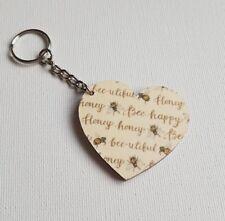 Handmade Wooden Heart Keyring Keychain Honey Bee-Utiful Bee-Happy Words  Print
