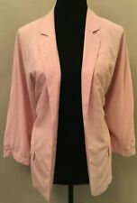 Chico's Womens Open Front Soft Blazer Size 2 Pink 3/4 Puff Sleeve Lined Modal