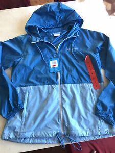 Columbia Lightweight Windbreaker Hooded Full Zip Jacket Women's Blue Medium