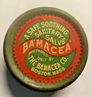 Vintage 1896 Ba'ma'cea Sanitary Salve Medical Advertising Tin Boston Ma Bamacea