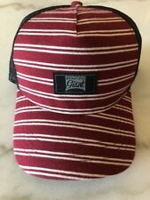 Beautiful Giant Hat Cap Red Striped Black Mesh Snapback New