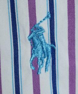 Men's Polo Ralph Lauren Long Sleeve Blue Striped Dress Shirt Size 17-34/35