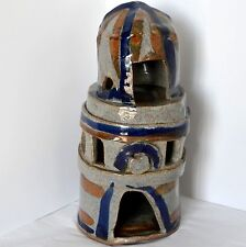 "Brutalist Abstract Art Pottery Steeple Tower 11.5"" Incised Stoneware Gray Signed"