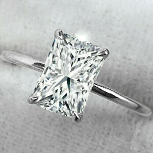 2.70Ct Radiant cut Solitaire Diamond Engagement Ring 14K White Gold Over Gift