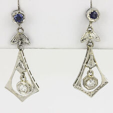 Diamond 14K Chandelier Drop Earrings Art Deco Nouveau Blue Post Screw Antique