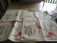 4 LINEN COTTON PLACE MATS AUSTRALIAN PINCUSHION HAKEA