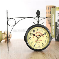 Retro Antique Double Sided Wall Clock Hanging Outdoor Station Quartz Battery US