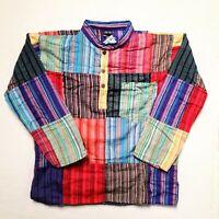 Gringo Patchwork Shirt Cotton Hippy Colour Handmade Grandad Festival Fair Trade