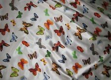 """Silk CHARMEUSE Fabric BUTTERFLIES fat 1/4 18""""x22"""" remnant"""