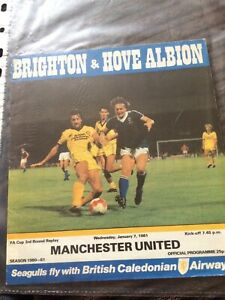 brighton home albion v manchester united  1980-1 fa cup replay programme