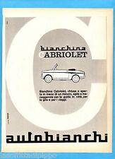 QUATTROR964-PUBBLICITA'/ADVERTISING-1964- AUTOBIANCHI BIANCHINA CABRIOLET
