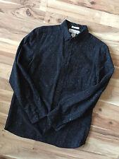 H&M LOGG L.O.G.G.Long Sleeve Speckled Black Button Down Shirt Black Med