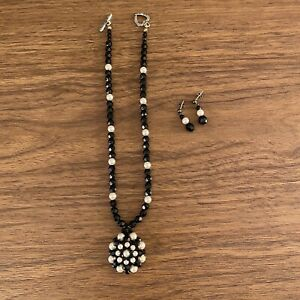 Black & White Beaded Glass Pearl Necklace & Earrings Set