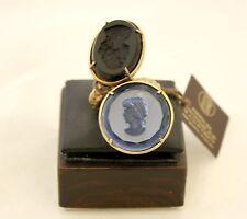 Maxi anello Patrizia Daliana in bronzo dorato con cammei in vetro inciso
