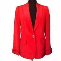 NINA MCLEMORE Women's Size 2 Red 100% Silk Lining Blazer Jacket