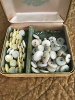 Vintage / Antique Mixed Lot Of White Buttons, Mixed Sizes, OVER 50 BUTTONS