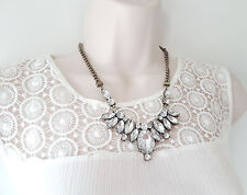 """Gorgeous 18"""" long antique gold tone & diamante crystal chain necklace & earrings"""