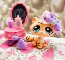 Littlest Pet Shop LPS #1608 Tiger Tabby Cat Blue Eyes Authentic With Accessories