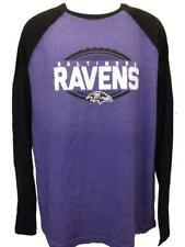 New Baltimore Ravens Mens XLarge XL Majestic Purple/Black Raglan Blend Shirt