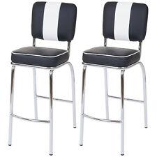 2x tabouret de bar Avellino, chaise de comptoir, rétro, similicuir ~ noir/blanc