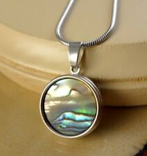 ABALONE basic snap button silver pendant w/steel necklace gifts for women girls