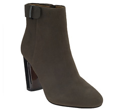 G.I.L.I. Leather Block Heel Ankle Boots Women's Kallie Stonewall Size 10 New