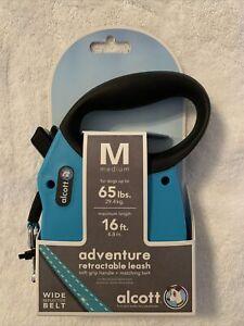 Alcott adventure 16' Ft  Reflective Belt Retractable Medium Dog Leash 65lbs Blue