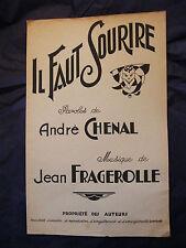 Partitura Il faut sourire André Lachenal Jean Fragerolle Music Sheet