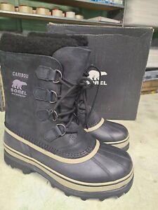 NIB  Sorel Men's Waterproof Caribou Boots Black Tusk Dark Stone - Pick Size