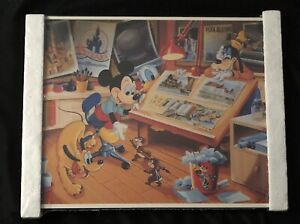 1980'S WDW CAST MEMBER ARTWORK BY GOOFY MICKEY DONALD CHIP DALE & PLUTO FRAMED