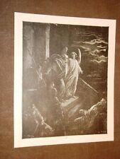 Incisione Gustave Dorè 1880 Bibbia Angelo libera Pietro carcere Bible Engraving