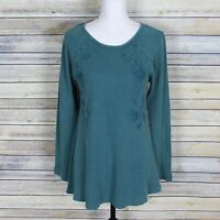 New Soft Surroundings Camden Waffle Knit Embroidered Thermal Top Green Small