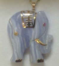 14K Gold Large Natural Blue Agate elephant charm, pendant for necklace NEW