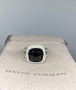 David Yurman Sterling Silver 925 11mm Albion Onyx Diamond Ring Size 6