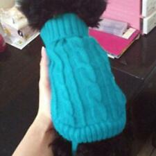 Small Pet Dog Sweater Warm Clothes Crochet Coat for Chihuahua Lake Blue 4#