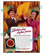 OLD LARGE HISTORIC ADVERTISING POSTER, LUCKY STRIKE CIGARETTES c1940s