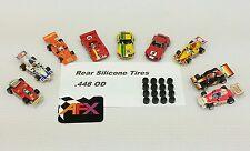 Afx Aurora G-plus 16 silicone tires Ho slot car parts 8 pair lot .448 Od