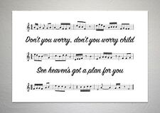 Swedish House Mafia - Don't You Worry Child - Song Sheet Print Poster Art