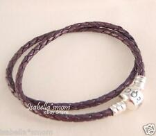 "Genuine PANDORA Purple LEATHER/Silver Clasp DOUBLE BRACELET Large 16.1""/41cm NEW"