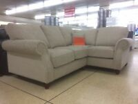 Well-Made Beige Fabric Corner Sofa designer Made bouyant Chesterfield styled arm