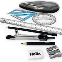 Helix Oracle Maths Geometry Set – 9 Piece Assorted Set - AE5