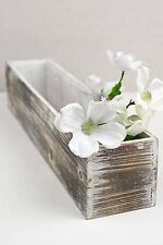 "Richland White Washed 4"" x 20"" Planter Boxes Wood Home Decor Garden Flowers"