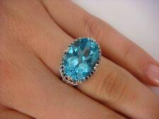 ELEGANT BLUE TOPAZ  BLUE & WHITE DIAMONDS FILIGREE LADIES RING 14K WHITE GOLD