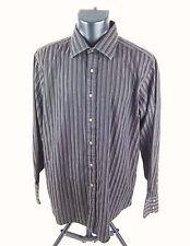 Sean Jean Mens Dress Shirt Sz 17-34/35 Long Sleeve Button Down Brown Striped