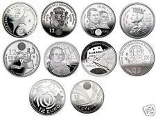 manueduc  12 EUROS ESPAÑA  2002 al 2010 COLECCION COMPLETA 10 Coins 182 Gr PLATA